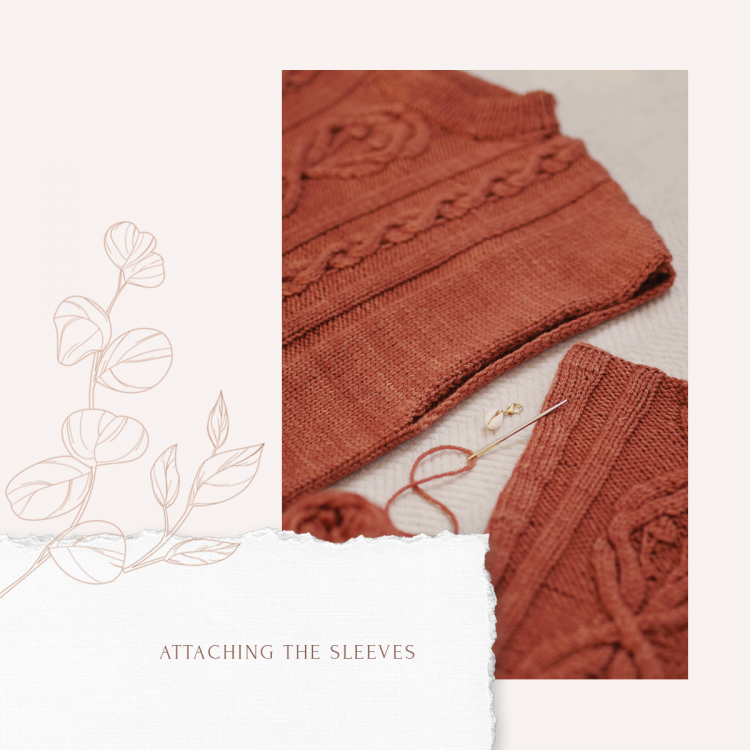 The sleeve and the body of knitted sweater with sewing tools